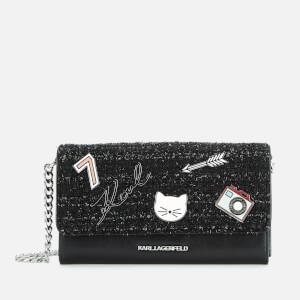 Karl Lagerfeld Women's K/Klassik Pins Wallet on Chain - Black