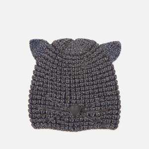 Karl Lagerfeld Women's Choupette Lurex Beanie Hat - Navy
