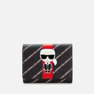 Karl Lagerfeld Women's K/Stripe Ikonik Fold Wallet - Black