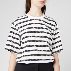 Victoria, Victoria Beckham Women's Logo Stripe Victoria T-Shirt - White/Black