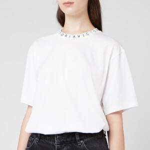 Victoria, Victoria Beckham Women's Logo Rib Victoria T-Shirt - White/Black Logo