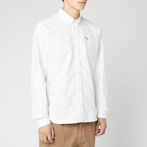 Maison Kitsuné Men's Oxford Tricolor Fox Patch Classic Shirt BD - White