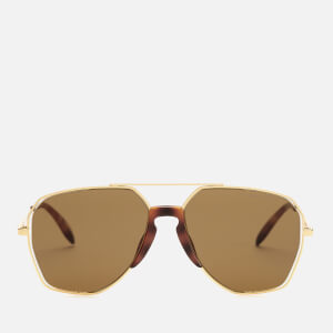 Alexander McQueen Men's Metal Aviator Style Sunglasses - Gold/Brown