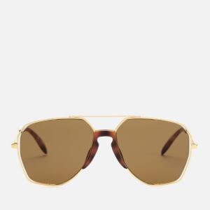 Alexander McQueen Men's Metal Aviator Style Sunglasses - Gold/Brown