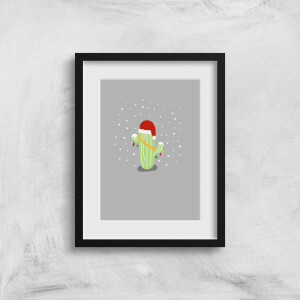 Cactus Santa Hat Art Print