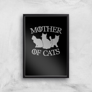 Mother Of Cats Black Tee Art Print