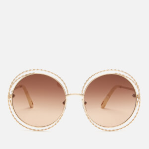 Chloe Women's Carlina Round Frame Sunglasses - Gold/Brown Lens