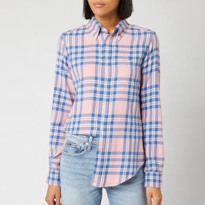 Polo Ralph Lauren Women's Georgia Long Sleeve Shirt - Pink/Blue Plaid