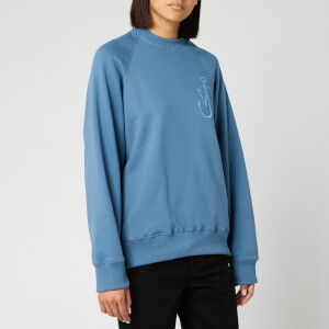 JW Anderson Women's Oversized Sleeves Placket Sweatshirt - Airforce Blue
