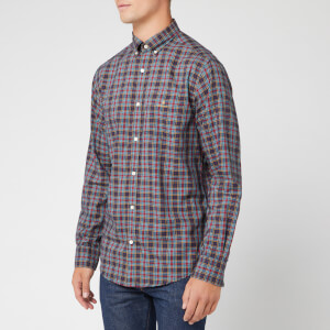 GANT Men's Oxford Check Long Sleeve Shirt - Marine