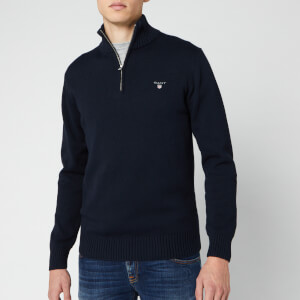 GANT Men's Cotton Half Zip Knit Jumper - Evening Blue