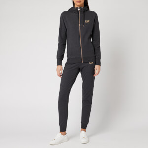 Emporio Armani EA7 Women's Hooded Tracksuit with Quilting Detail - Carbon Melange