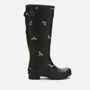 Joules Women's Welly Print Back Adjustable Tall Wellies - Black Metallic Bees