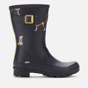 Joules Women's Molly Mid Height Printed Wellies - Navy Harbour Dogs
