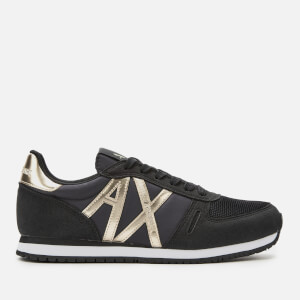 Armani Exchange Women's Suede Running Style Trainers - Black/Light Gold