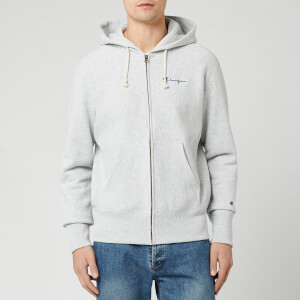 Champion Men's Small Script Full Zip Sweatshirt - Grey Marl