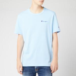 Champion Men's Small Script Crew Neck T-Shirt - Pale Blue