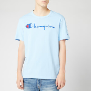 Champion Men's Big Script Crew Neck T-Shirt - Pale Blue