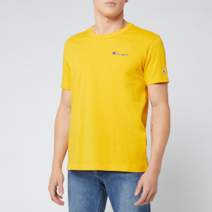 Champion Men's Small Script Crew T-Shirt - Yellow