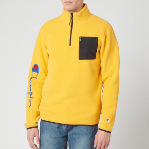 Champion Men's Sleeve Script Half Zip Top Sweatshirt - Yellow