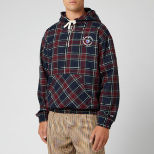 Champion X Clothsurgeon Men's Small Logo Half Zip Hooded Sweatshirt - Red Tartan