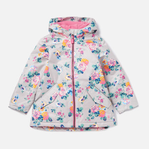 Joules Girls' Raindrop Hooded Rain Coat - Grey Floral