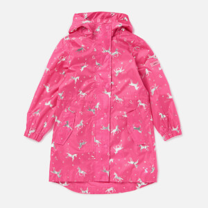 Joules Girls' Go Lightly Longline Rain Jacket - Pink Unicorn