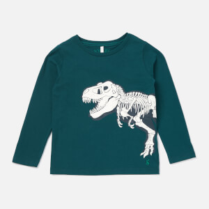 Joules Boys' Raymond Glow in the Dark Screenprint Long Sleeve Top - Green Dino Skeleton