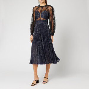 Self-Portrait Women's Fil Coupe and Fine Lace Midi Dress - Navy/Black