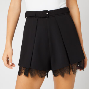Self-Portrait Women's Crepe Pleat Shorts - Black