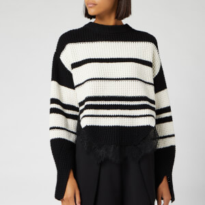 Self-Portrait Women's Monochrome Striped Jumper - Black/Ivory