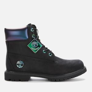 Timberland Women's 6 Inch Premium Boots - Black Nubuck Iridescent