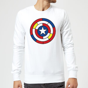 Marvel Captain America Stained Glass Shield Sweatshirt - White