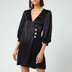 Ganni Women's Heavy Satin Dress - Black