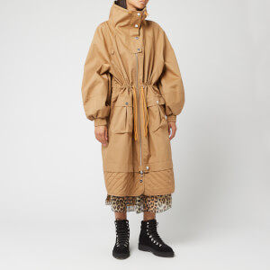 Ganni Women's Double Cotton Coat - Tiger's Eye