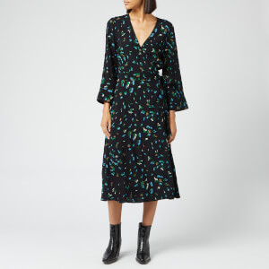 Ganni Women's Printed Crepe Wrap Dress - Verdant Green