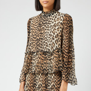 Ganni Women's Pleated Georgette Top - Leopard