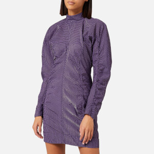 Ganni Women's Seersucker Check Dress - Deep Lavender