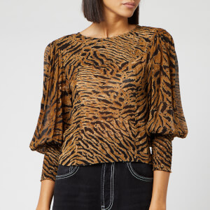Ganni Women's Printed Georgette Top - Tiger
