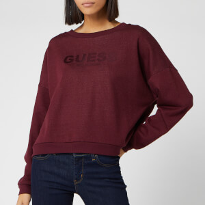 Guess Women's Satin Logo Sweatshirt - Martina Red