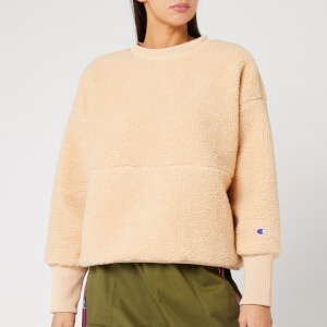 Champion Women's Maxi Crew Neck Sherling Sweatshirt - Cream