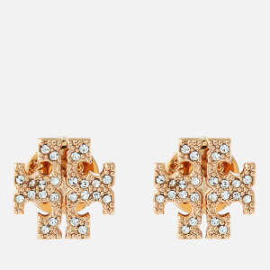 Tory Burch Women's Pave Logo Stud Earrings - Tory Gold/Crystal