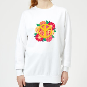 Peace Symbol Floral Women's Sweatshirt - White