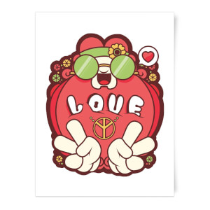 Hippie Love Cartoon Art Print