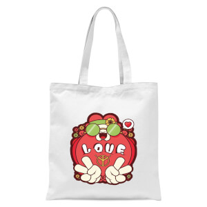 Hippie Love Cartoon Tote Bag - White