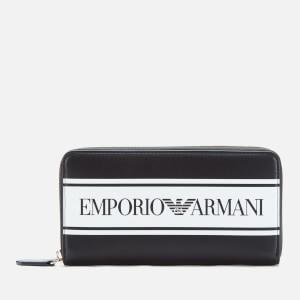 Emporio Armani Women's Large Zip Around Wallet - Black/White