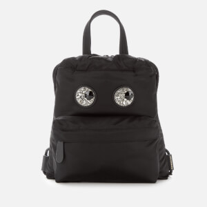 Anya Hindmarch Women's Nylon Mini Drawstring Backpack Crystal Eyes - Black