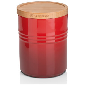 Le Creuset Stoneware Medium Storage Jar with Wooden Lid - Cerise