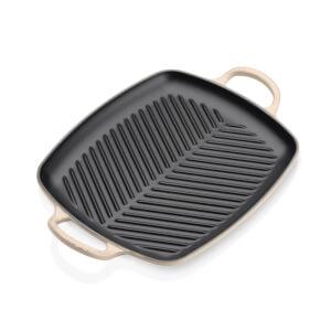 Le Creuset Signature Cast Iron Shallow Rectangular Grill - 30cm - Almond