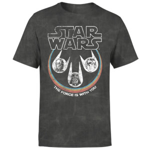 Star Wars The Force Is With You Retro Heads Men's T-Shirt - Black Acid Wash